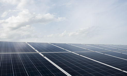 Solar cell farm in power station for alternative energy from the sun
